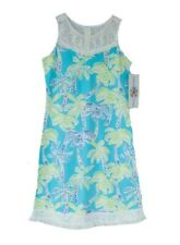 Nwt Counting Daisies Girls Dress Blue Tropical Palm Tree Fringe Lace Size 16
