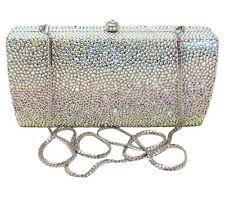 Anthony David Aurora Borealis Crystal Silver Metal Clutch Evening Bag