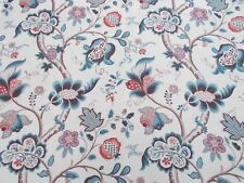 Sanderson Curtain Fabric Roslyn 5.5 Metres Teal and Cherry 100 Linen DVIPRO205