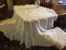 Baby shawl hand made crochet white large pretty christening wedding pram cot