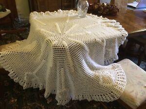 Baby shawl hand made crochet WHITE large pretty christening