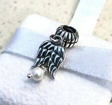 Pandora Guardian Angel Wings White Pearl Charm #790975P + Gift Packaging & Pouch
