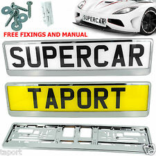 2 x SUPER CHROME EFFECT NUMBER PLATE HOLDER SURROUND FOR ANY CAR