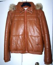 PHILLIPPE MONET VINTAGE LEATHER JACKET WITH WOLVERINE HOOD   NMT CONDITION