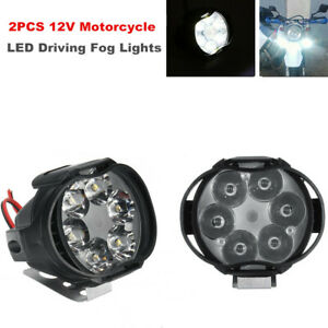 2PCS 12V 8W LED Spot Lights Off Road Motorcycle Dirt Bike Fog Driving Work Lamp