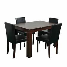 Spare Repair Wooden Dining Table X 4 PU Faux Leather Chairs Set Furniture Walnut