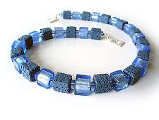 "A Sign ""La Mer"" Halskette handgefertigte Murano-Art Glas Perlen&Lava-Würfel Blau"