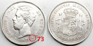 ESPAÑA AMADEO I 1871 *18-73 perfecta DEM 5 PESETAS MONEDA PLATA MBC+  RARA