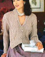 "Woman Aran Cardigan Shawl Collar Pointy Cuff Celtic Buttons  32-40"" To Knit"