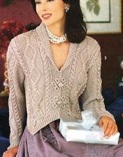 "Woman Aran Cardigan Shawl Collar Pointy Cuff Celtic Buttons  32-40"" To Knit"