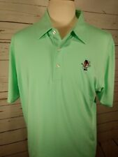 Dunning Golf Mens Short Sleeve Embroidered Indian Logo Lime Green sz XL