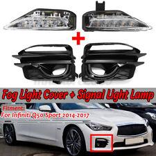 For Infiniti Q50 Sport 14-17 Front Fog Bumper LED Turn Signal & Fog Lamp Cover