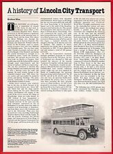 Buses Magazine Extract ~ Lincoln City Transport - History & Recent Fleet - 1989