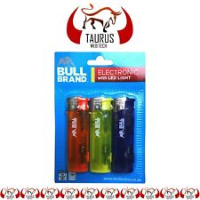 3x BULL BRAND Electronic Lighter LED Light Gas Refillable Tobacco Smoking Tip UK