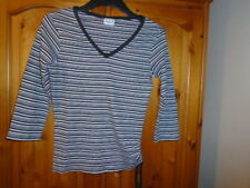 Black and white stripe top with side tie, ¾ sleeves, SELECT, size 10