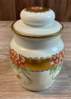 Vintage M Z Austria 1134 Flowers Gold Antique Tobacco Jar Humidor