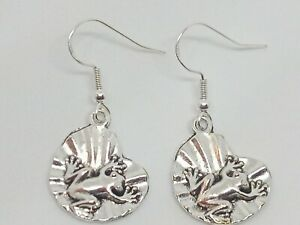 New Silver Frog On Lilly Pad Charm Drop/Dangle Earrings Novelty Quirky
