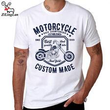 Motorcycle Printed T Shirt Men Cotton Short Sleeve Casual o-neck Men T-shirt