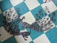 "HUGE MID-CENTURY MODERN WALL ART PEACOCKS BRUTALIST METAL FEATHERS PAIR VTG 32"""