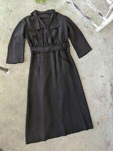 Antique Edwardian 1910s Black Silk Faille Dress Mourning Gown XL