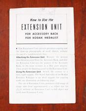 KODAK MEDALIST ACCESSORY BACK EXTENSION UNIT INSTRUCTIONS, 1942/cks/206530