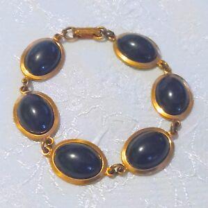 Vintage Copper and Black Cabochon Link Bracelet
