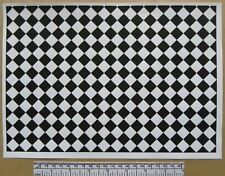 Dolls house 1/12th scale paper - A4 sheet - black and white tile flooring