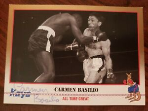 Carmen Basilio Autographed Kayo Boxing Card/Middleweight & Welterweight Champion