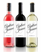 Personalised Wine Label, wedding, engagement - 'script' design various colours