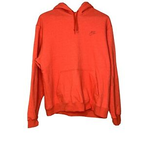 Nike Men's Size XL Solid Orange Pullover Hooded Sweatshirt Heavyweight Fabric