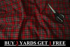 Genuine Red Royal Stewart Tartan Woven 100% Brushed Cotton Craft Dress Fabric