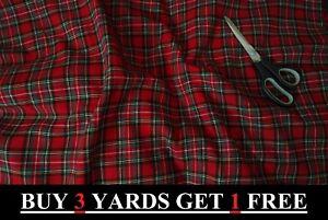 Genuine Red Royal Stewart Tartan Woven 100% Brushed Cotton Craft Dress Fabric