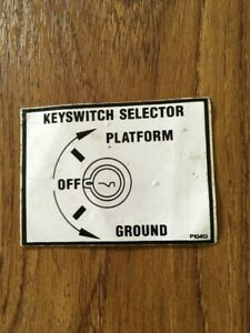 NIFTYLIFT MEWP Key switch selector Decal Sticker P10413 Spare Part New Old Stock
