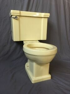 Vtg Mid Century Chiffon Yellow Porcelain Complete Toilet Old Standard 360-20E