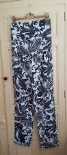 Zara Trafaluc L Large UK 14 Black White Monochrome Palm Leaf Jumpsuit Strapless