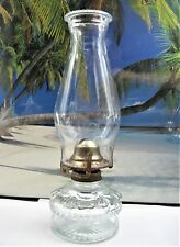 EAGLE KEROSENE OIL LAMP OLD FANCY FONT CLEAR GLASS WITH BURNER AND CHIMNEY
