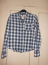 Beautiful Designer Blue/White Check Shirt by Hollister: Size Medium: BNWOT