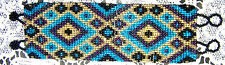 Woven Glass Seed Bead Bracelet, Southwest Double Cross and Diamond Pattern #673