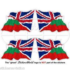 BULGARIA-UK Flying Flag, Bulgarian-British Union Jack 50mm Stickers, Decals x4