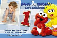 ELMO SESAME STREET BIRTHDAY PARTY INVITATION PHOTO 1ST BABY- BABIES FIRST - C2