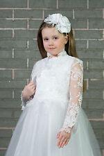 Flower Girls First Holy Communion Lace Bolero Jacket 3/4 Length Sleeve K-106