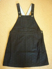 MINI BODEN BRODERIE DUNGAREE DRESS in BLACK, STRIPE TRIM. 5-6 YEARS. BNIB. 93220