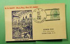 DR WHO 1940 USS TIPPECANOE NAVAL SHIP POSTAL CARD NAVY DAY TO USA  f52220
