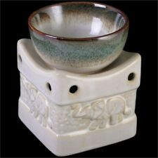 Two Tone Elephant Oil Burner Cream - Ceramic Fragrance Wax Melt Aroma Home 10cm
