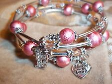 Hand Crafted PINK Glass & Crystal Bead ADJUSTABLE Coil CHARM Wrap Bracelet D-05