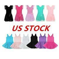 US Kids Girls Ballet Dance Dress Toddler Gymnastics Tutu Skirt  LeotardDancewear