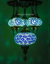 Handmade Turkish Mosaic Lamp - 6 Globe Celestial Series Blue Beam Chandelier