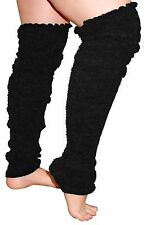 Plus Size Leg Warmers Super Long Cable Knit - BLACK