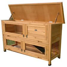 LARGE RABBIT HUTCH GUINEA PIG HUTCHES RUN LARGE 2 TIER DOUBLE DECKER  ROGER XL