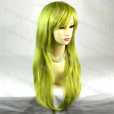 Wiwigs Long Straight Golden Green Cosplay Heat Resistant Ladies Wig